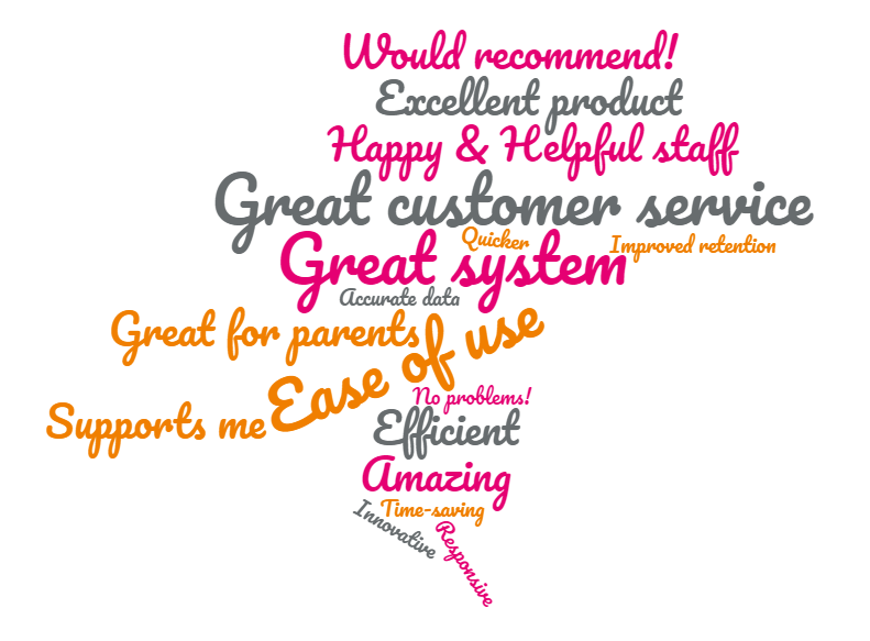 A wordcloud using customer testimonials from our NPS survey.
