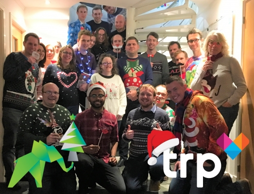 A picture of the CAP2 and TRP team's on our Christmas Jumper Day, raising support for Save the Children!
