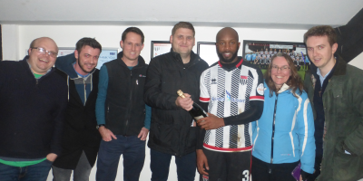 The CAP2 team with man of the match Anthony Straker, after sponsoring our local team Bath City in their game against Billericay!